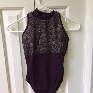 Natalie Couture Purple Lace Leotard